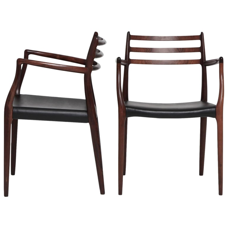 Pair of Niels O Moller Model 62 Carver Chairs in Rosewood, JL Moller, Denmark