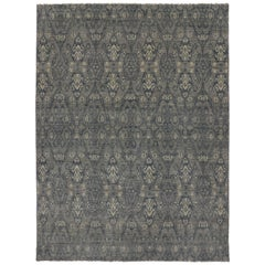 New Modern Transitional Ikat Area Rug, Contemporary Ikat Gray Rug