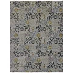 New Transitional Gray Area Rug with Modern  Abstract Floral Design