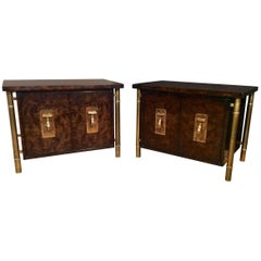 Pair of Large Burl and Brass Side Tables by Mastercraft-Hollywood Regency