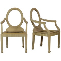 Donghia Style Hollywood Regency Art Deco Modernist Armchair Frames Unfinished