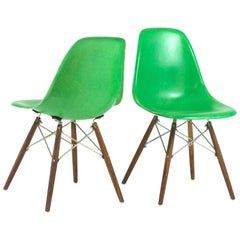 Pair of Eames DSW Chairs in Green
