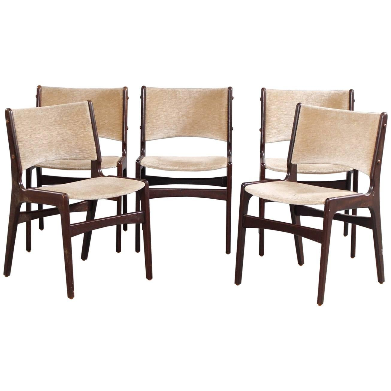1950s Five Erik Buch Dining Chairs In Solid Teak And Grey Velvet 1