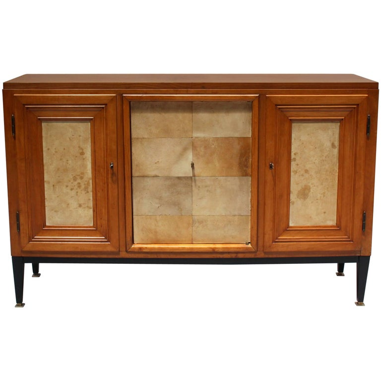 Swiss Midcentury Pear Wood and Parchment Three Door Buffet 1