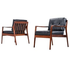 Pair of Black Leather Mid-Century Modern Mahogany Lounge Chairs