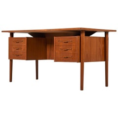 Danish Teak Executive Desk with Bookcase Cabinet Front