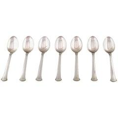 Hans Hansen Silverware Number 5 in Sterling Silver, Seven Tea Spoons