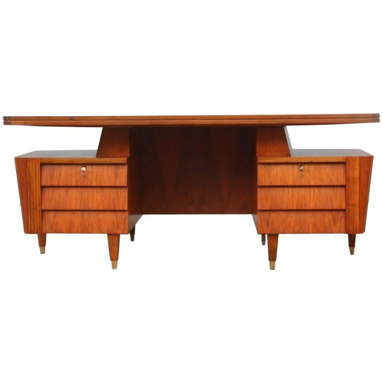 Italian Midcentury Design Desk Original Walnut 1950 Minimal  For Sale