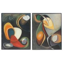 Oils on Canvas of the 1953 Antonio Franchini Painter Italian Design Minimalist