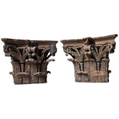 Pair of Carved Pine and Plaster Painted Corinthian Capital Wall Brackets