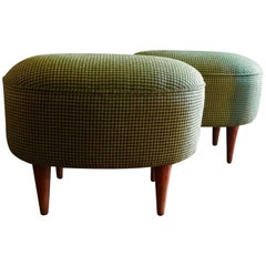 1950s Italian Footstools in a Woollen Green Houndstooth Upholstery, Pair