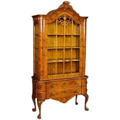 20th Century, Dutch Display Cabinet in Burl Walnut