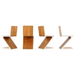 Gerrit Rietveld - Zig Zag Chair, Set of Four, Edition, circa 1965