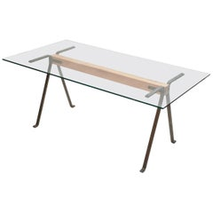"""Frate"" Tempered Glass Top Benchwood Beam and Steel Table by E. Mari for Driade"