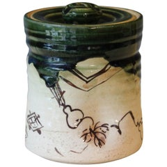 Old Vintage Oribe Japanese Tea Ceremony Pottery Zen Mizusashi Water Jar Signed