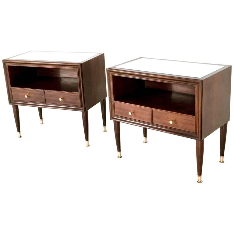 Pair of Mahogany Nightstands, Cantù, Italy, 1950s