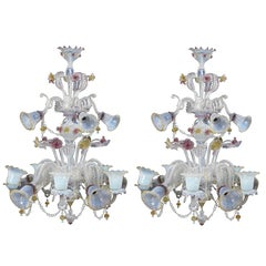 Pair of Large Venetian Opaque and Coloured Glass Fifteen-Light Chandelier