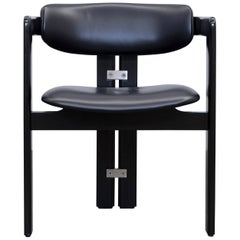 Augusto Savini Pamplona Dining Chairs for Pozzi Leather Wood Black