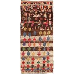 Midcentury Vintage Folk Art Moroccan Rug