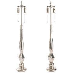 Pair of Nickel-Plated Metal Lamps