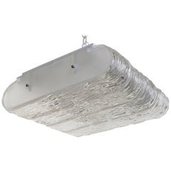 Italian Textured Glass Flush Mount Fixture