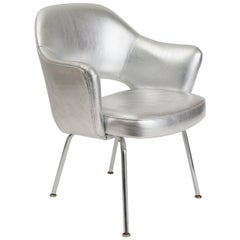 Saarinen Vintage Executive Eero Chair Silver Leather