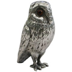Victorian Novelty Antique Silver Owl Pepper London 1871