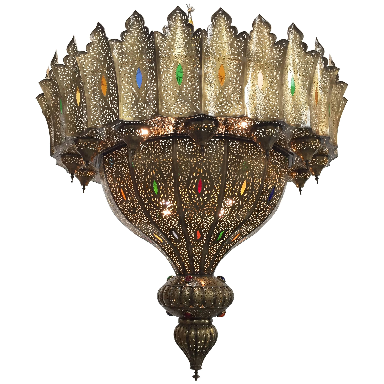 Moroccan Moorish Brass Chandelier Alberto Pinto Style