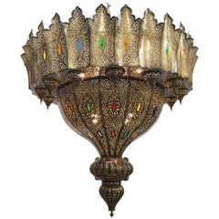 Moroccan Moorish Brass Chandelier in the Style of Alberto Pinto Oversized