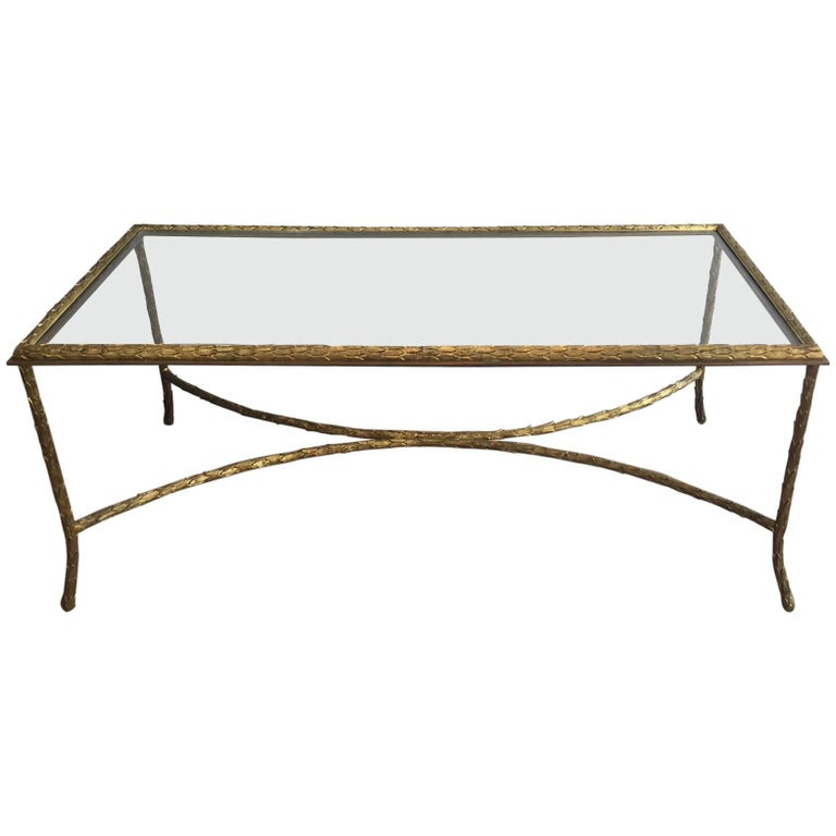 1940s French Gilt Bronze Coffee Table by Maison Baguès