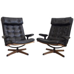 Pair of Leather Easy Chairs and Footstools by Gote Mobler