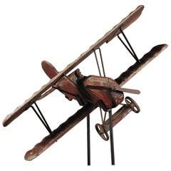 20th Century Large English Playworn Toy Biplane