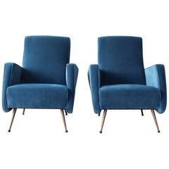 Pair of Velvet Midcentury Italian Armchairs