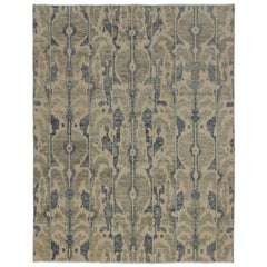 New Modern Transitional Ikat Area Rug with Neutral Earth Tone Colors