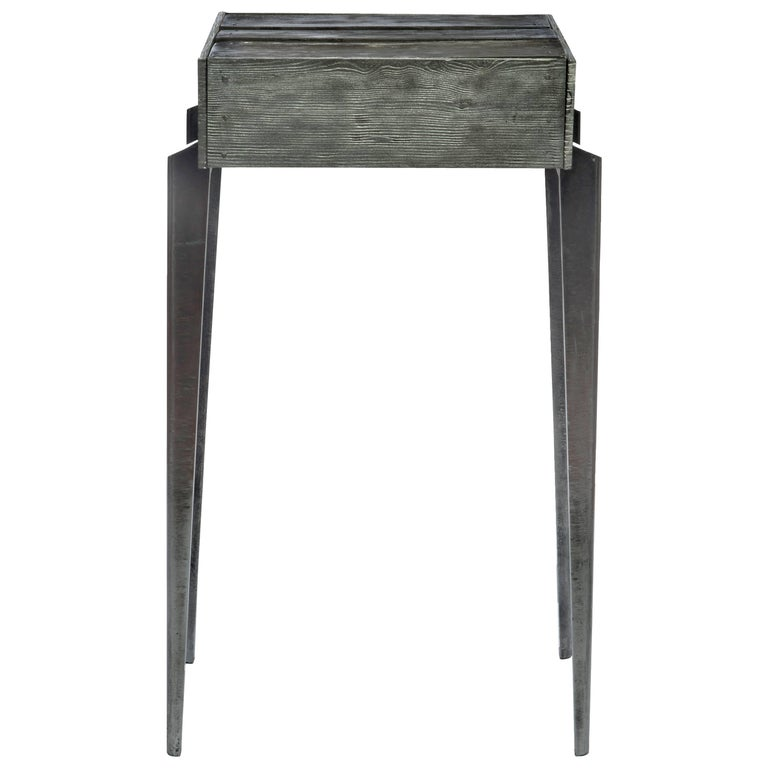 Contemporary Shack Side Table in Cast Aluminum and Mirrored Glass