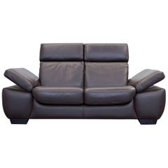 Design Two-Seat Couch Recliner Brown Leather Modern