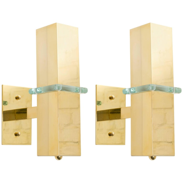 Pair of Modern Brass and Glass Sconces