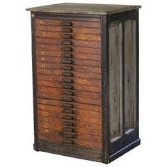 Vintage Hamilton Wooden Flat File Storage Cabinet Distressed Industrial