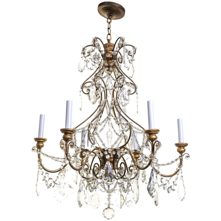 Italian Giltwood and Crystal Chandelier