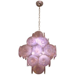 Vistosi 1970s Art Deco Iridescent Amethyst Murano Glass Round Disk Chandelier