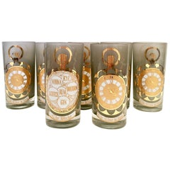 Mid-Century Frosted 22-karat Gold Printed High Ball Glasses, S/7