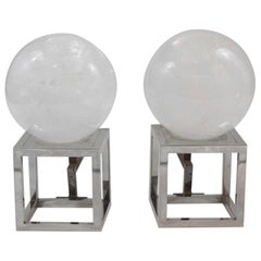 Pair of Rock Crystal and Nickel Silver Modernist Andirons