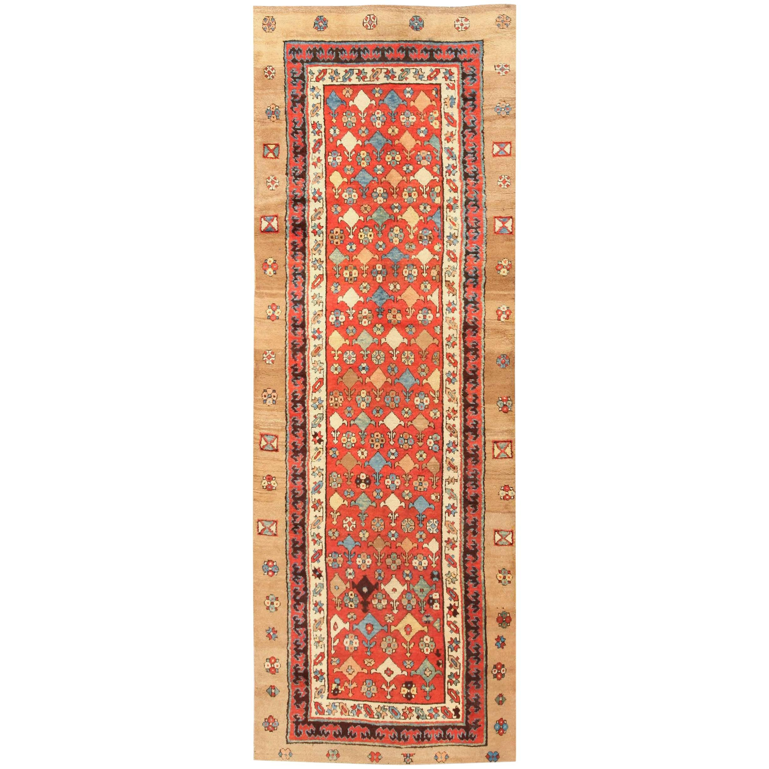 Small Tribal Antique Persian Bakshaish Rug. Size: 3 ft 7 in x 10 ft 2 in