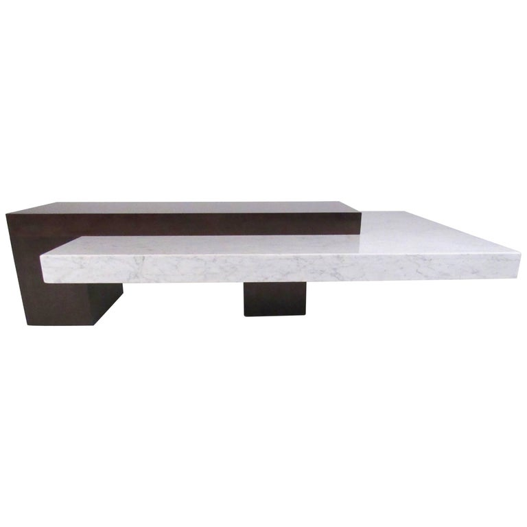 Stylish Italian Modern Marble Top Coffee Table For Sale At