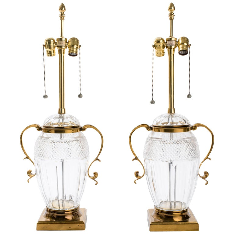 Pair of Brass and Cut-Glass Urn Table Lamps
