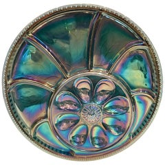 1950s Blown Glass Blue Round Egg Serving Platter