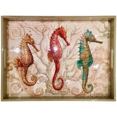 21st Century & New Seahorse Lacquer Wood  & Glass Tray