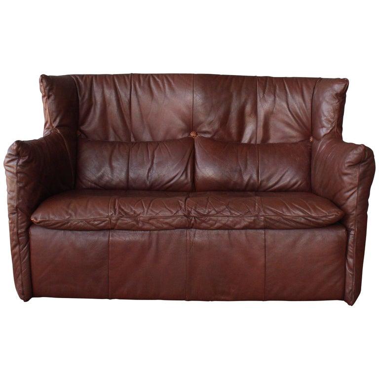Gerard Van Den Berg Leather Loveseat, Netherlands For Sale