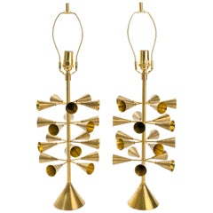 Conical Sputnik Brass Table Lamps - Limited Edition