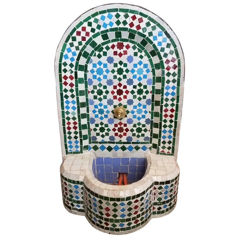 Colorful Mini Moroccan Fountain All Glazed Mosaic